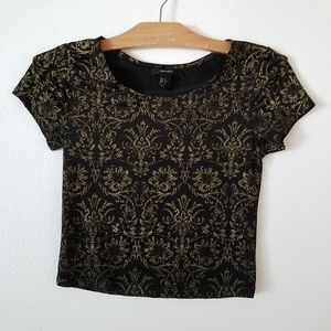 Forever21 black metallic gold crop top